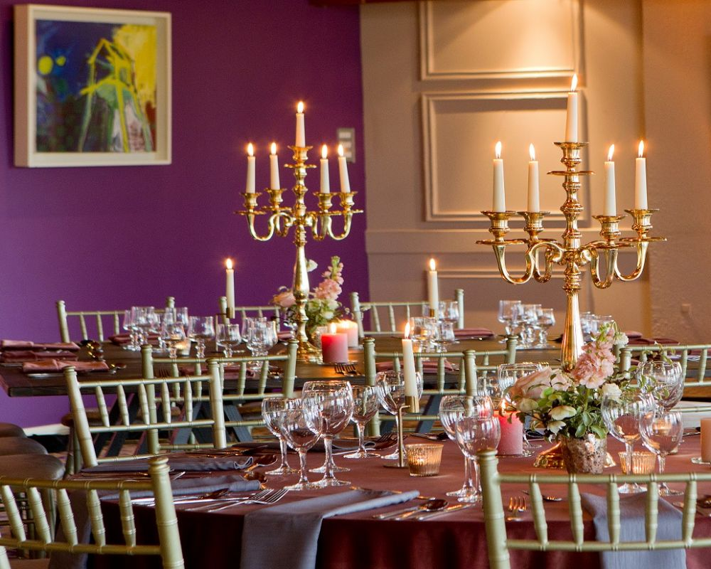 Golden candles and chairs