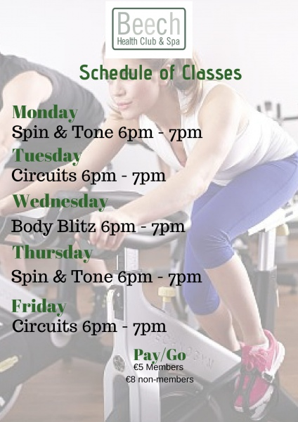 fitness class timetable 1